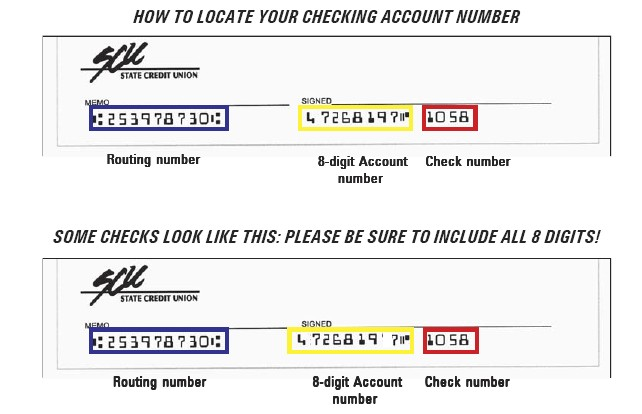 Sample checks with account and routing number